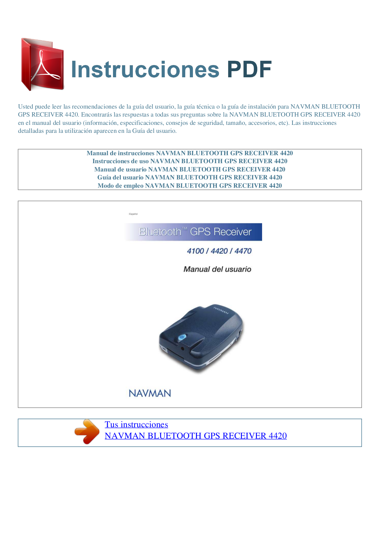 pdf for Navman GPS GPS4420 manual