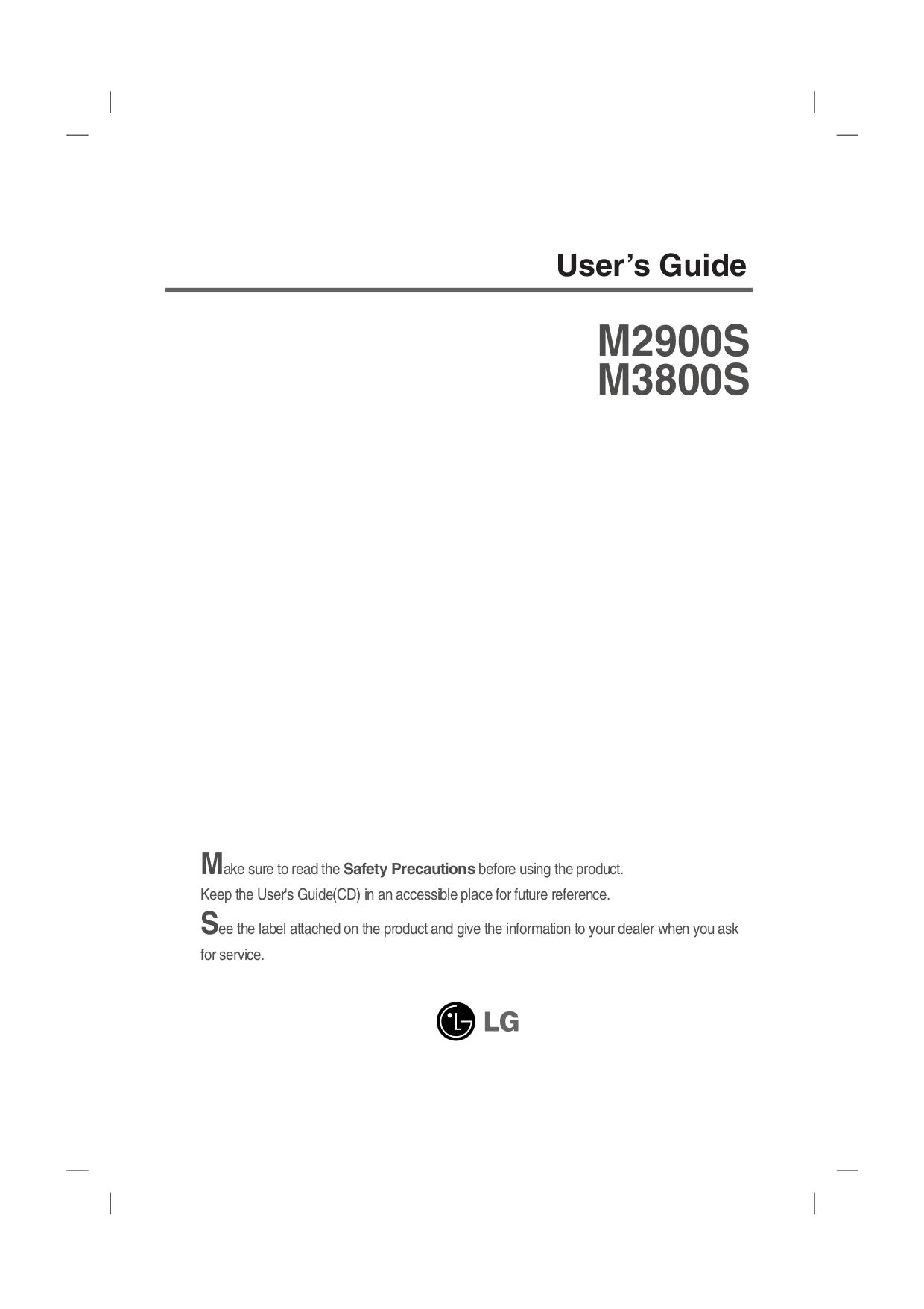 pdf for LG Monitor M3800S manual