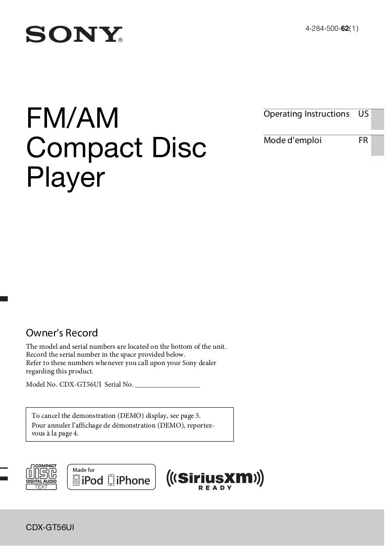 pdf for Sony Car Receiver Xplod CDX-GT56UI manual