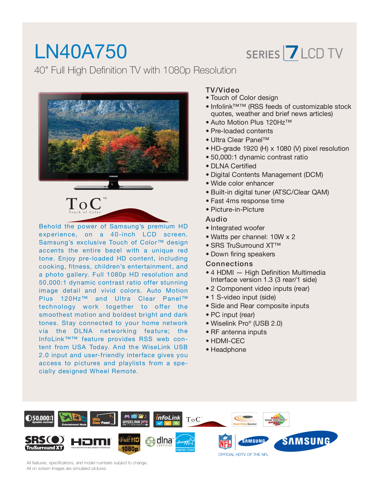 download free pdf for samsung ln40a750 tv manual rh umlib com Verizon Samsung Flip Phone Manual Samsung Refrigerator Repair Manual