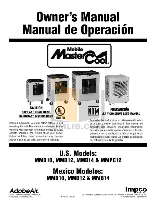Download free pdf for Adobeair MasterCool MMB10 Air Conditioner manual