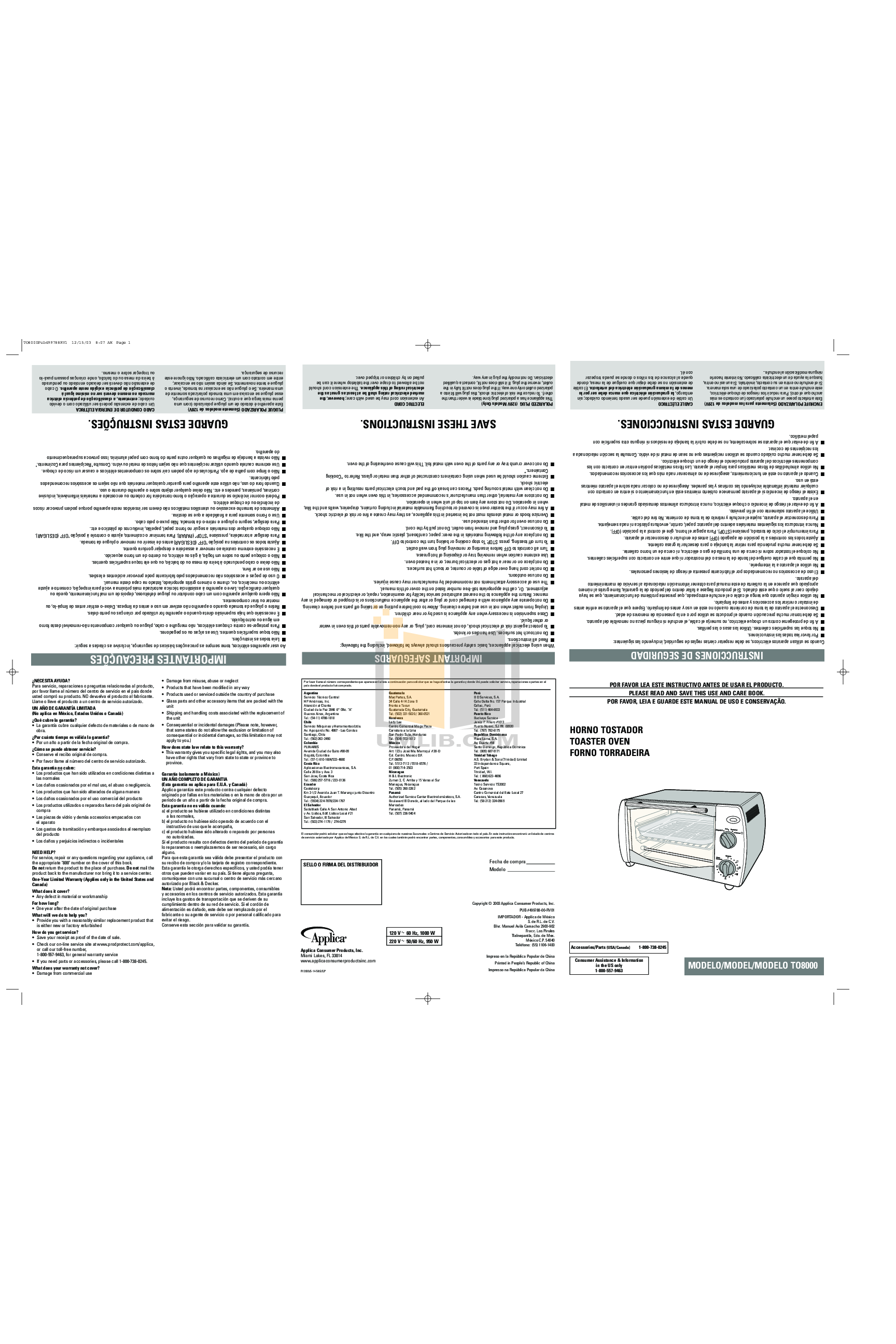 pdf for BlackAndDecker Oven TO8000 manual