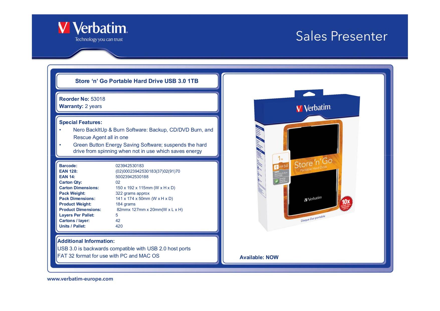 pdf for Verbatim Storage Acclaim 1TB manual