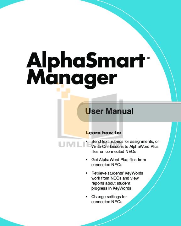 pdf for Alphasmart Keyboard NEO 1 manual