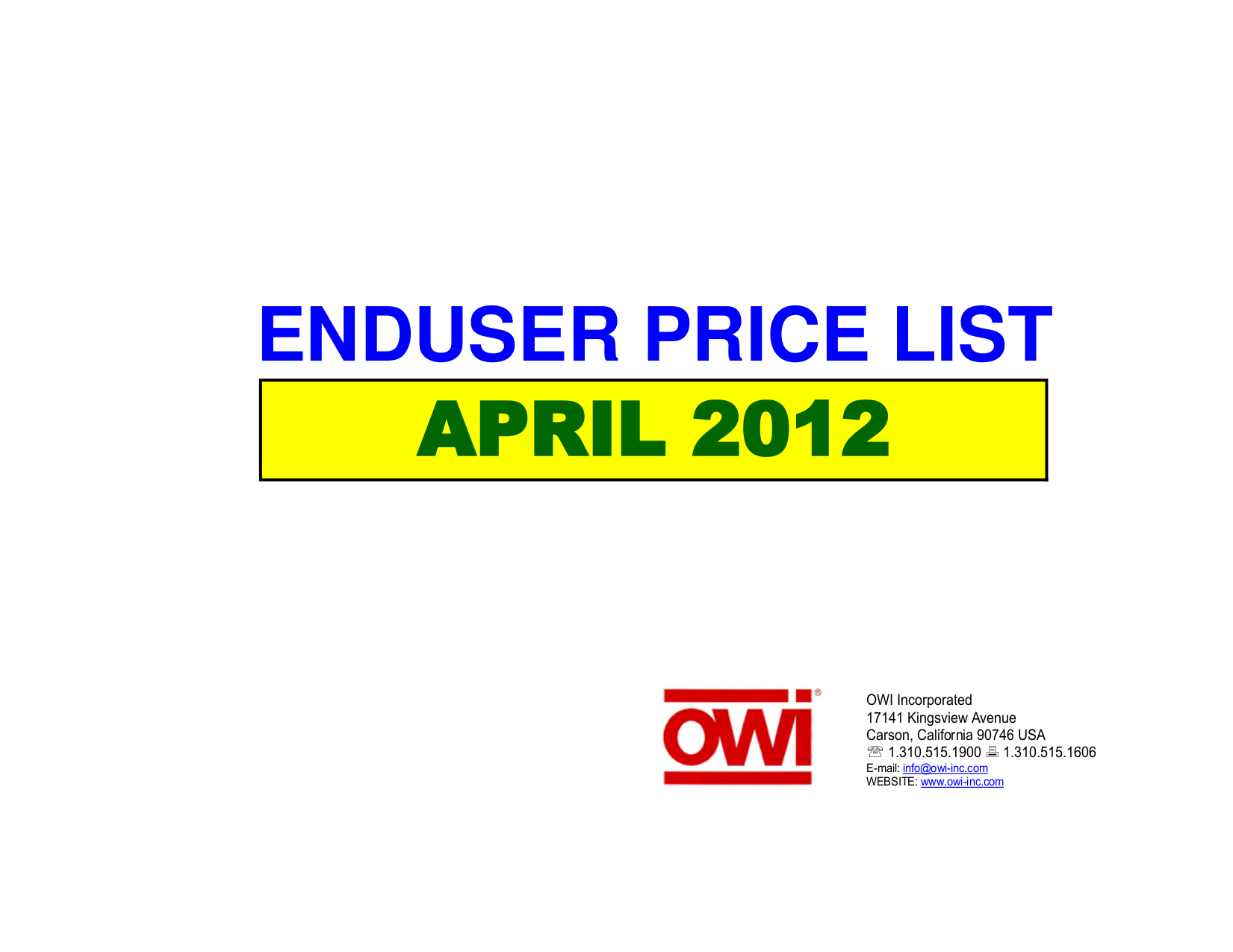 pdf for Owi Speaker PR703 manual