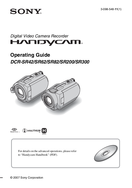 download free pdf for sony handycam dcr sr200 camcorders manual rh umlib com Sony Handycam DCR DVD sony handycam dcr-sr200 software download