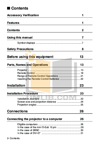 Epson Projector EMP-82 pdf page preview