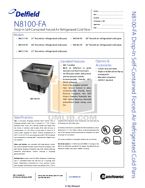pdf for Delfield Refrigerator N8100FA manual
