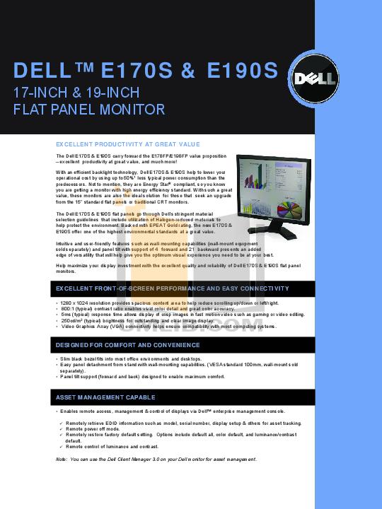 pdf for Dell Monitor E190S manual