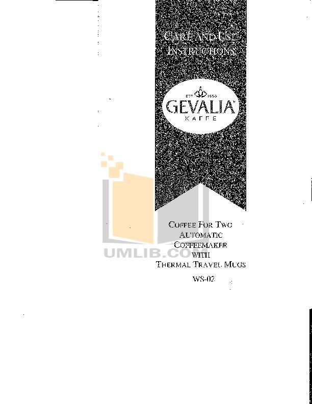Gevalia Coffee Maker User Manual : Download free pdf for Gevalia C-73 Coffee Maker manual