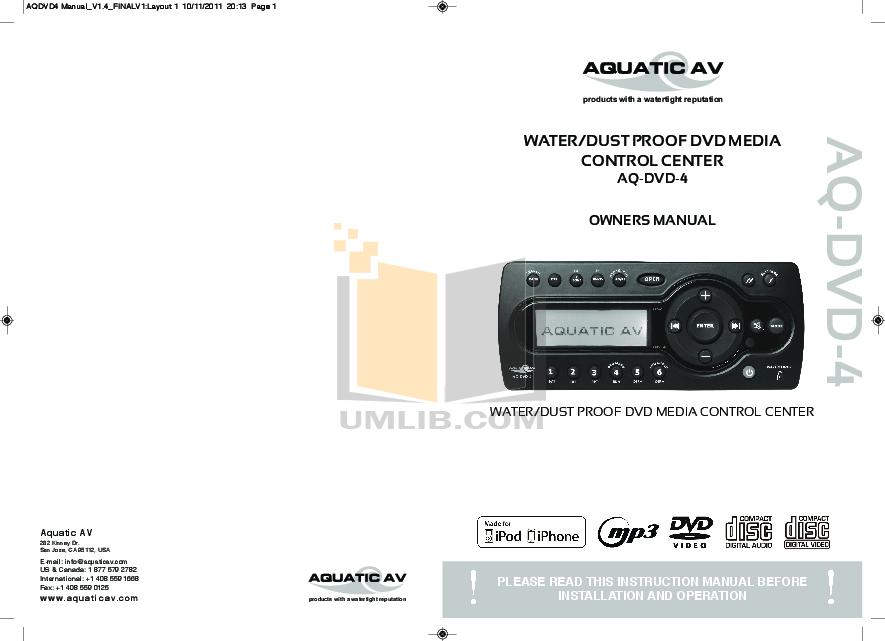 pdf for Aquatic DVD Players AQ-DVD-1 manual