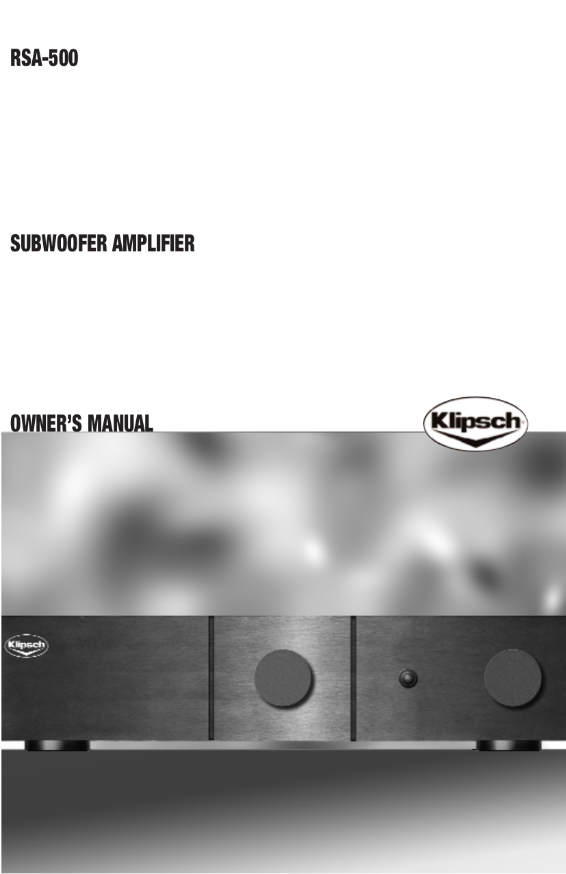 pdf for Klipsch Subwoofer RSA-500 manual