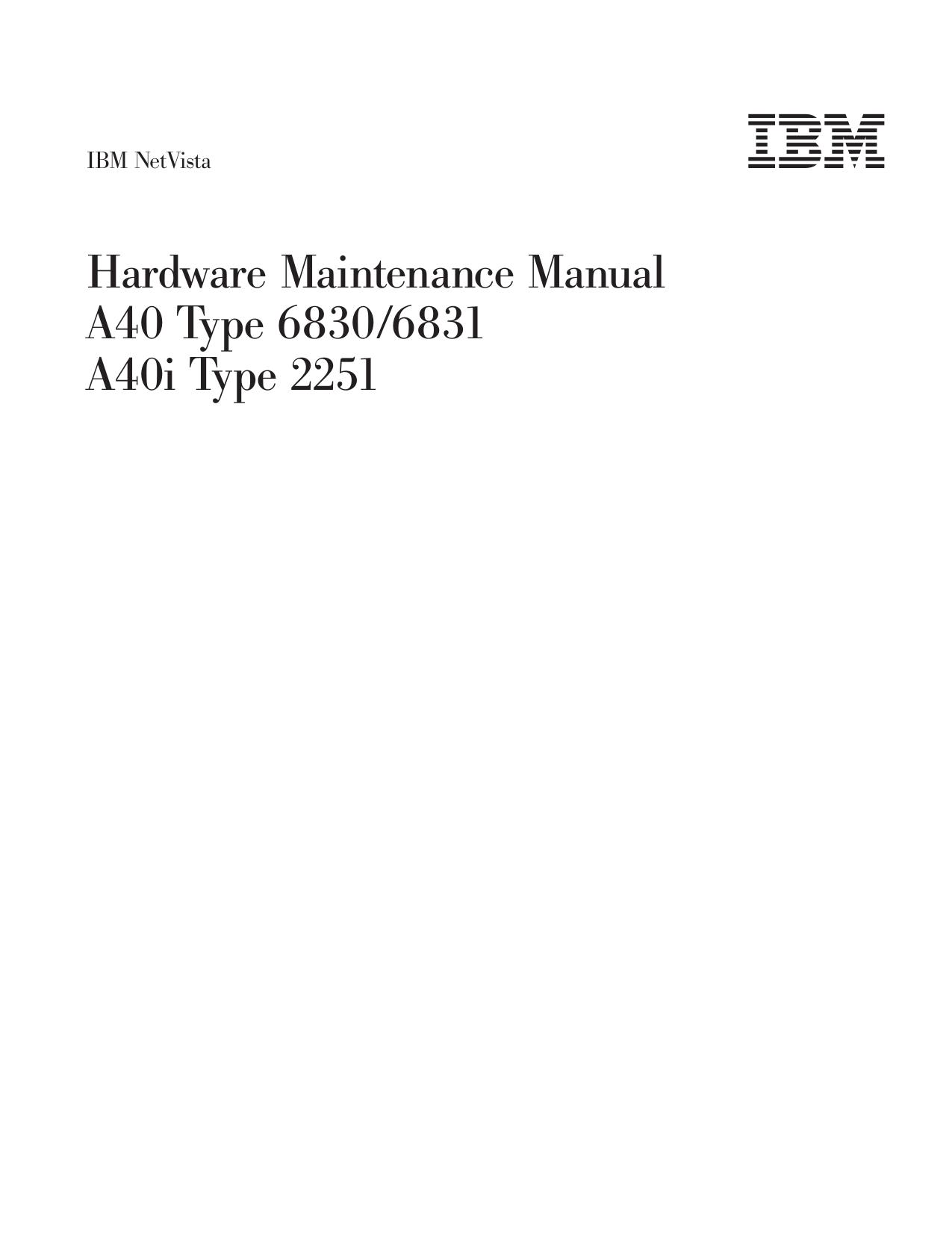 pdf for IBM Desktop NetVista A40i manual