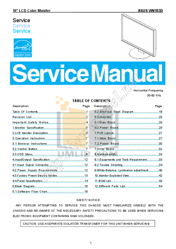 pdf for Asus Monitor VW193D manual