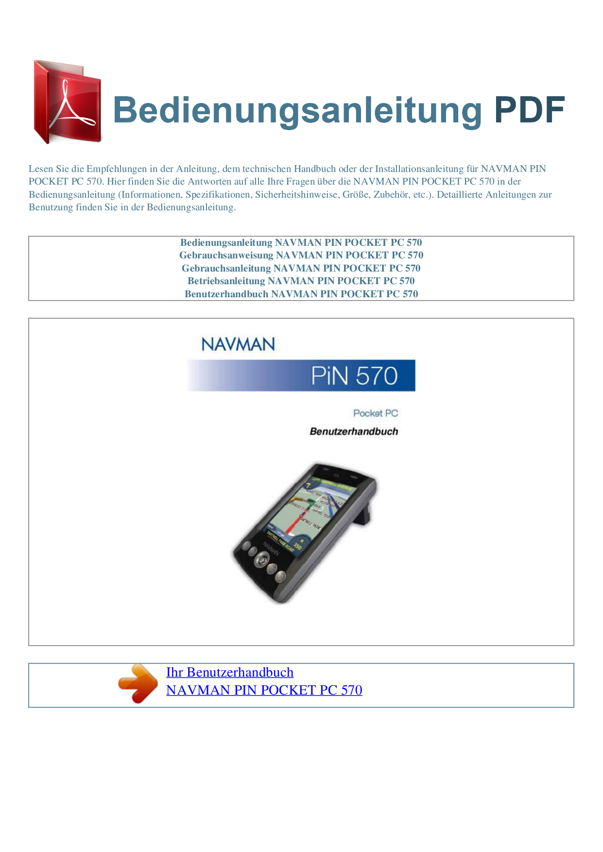 pdf for Navman GPS PiN570 manual