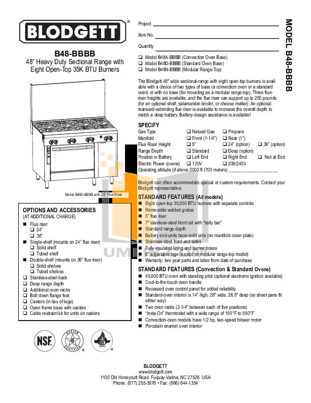 pdf for Blodgett Range B48A-BBBB manual