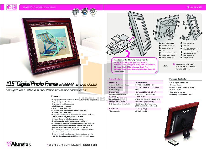 Download free pdf for Aluratek ADMPF110 Digital Photo Frame manual