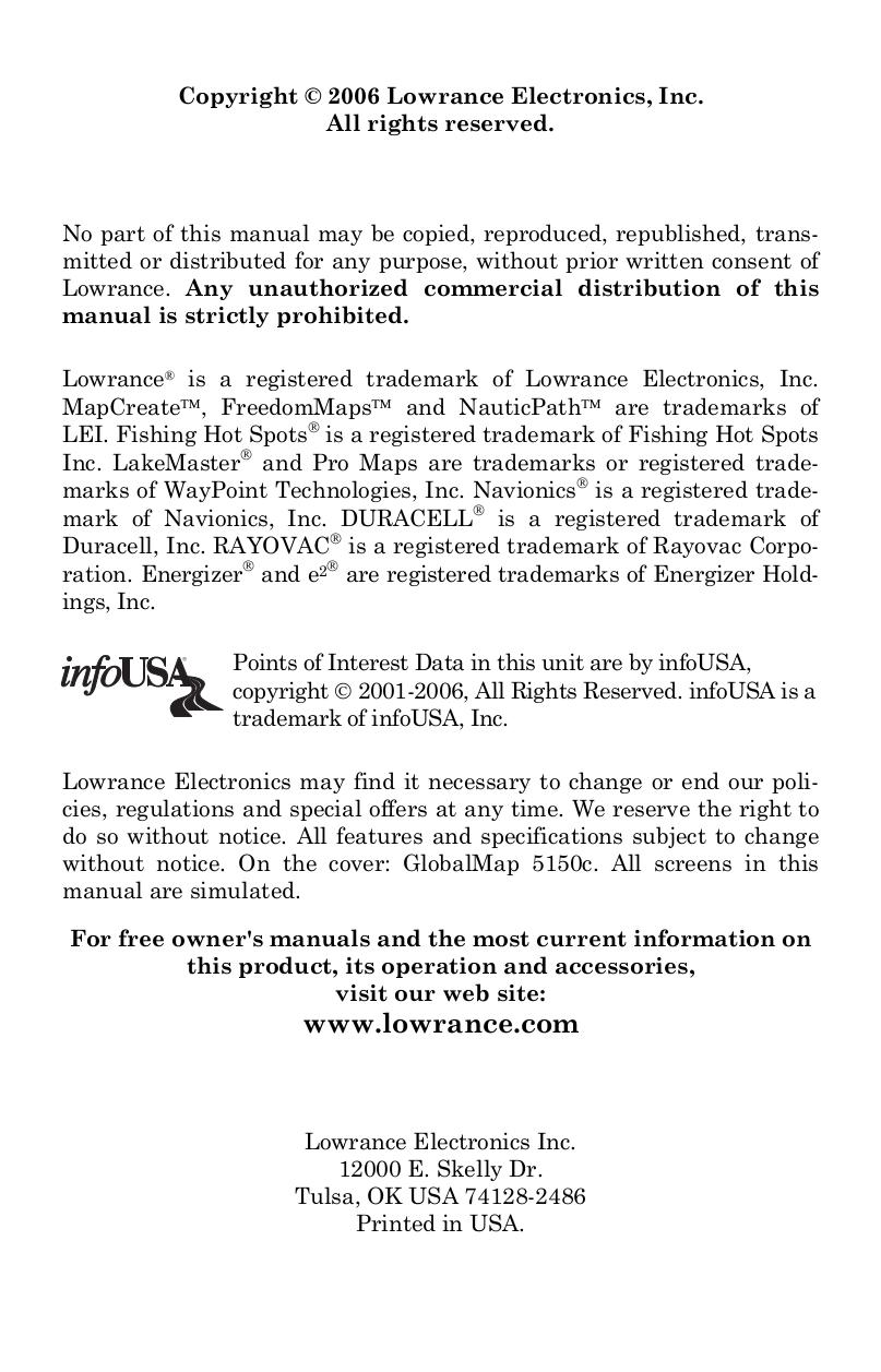 PDF manual for Lowrance GPS GlobalMap 5150c