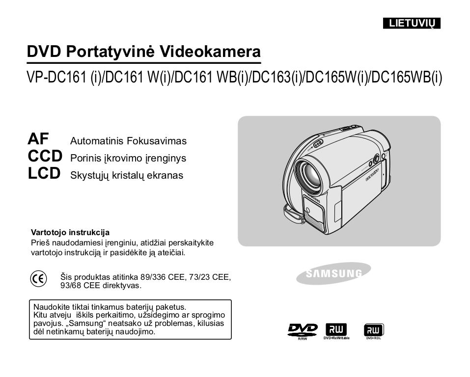 pdf for Samsung Camcorders VP-DC161 manual