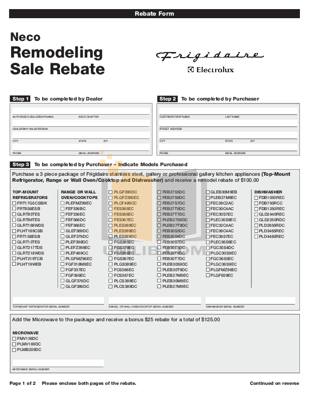 pdf for Frigidaire Refrigerator FRT1S6ESB manual