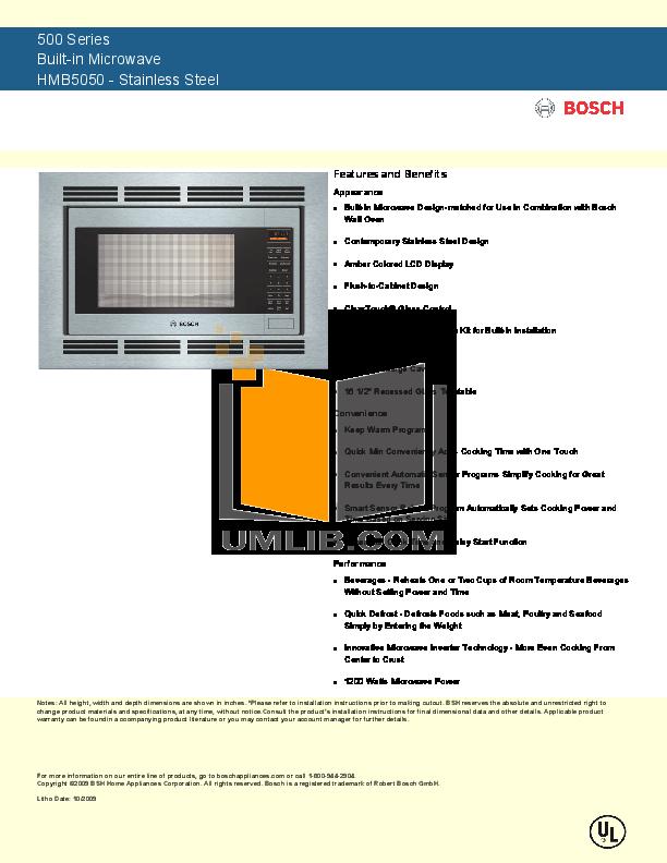 pdf for Bosch Microwave HMB5060 manual