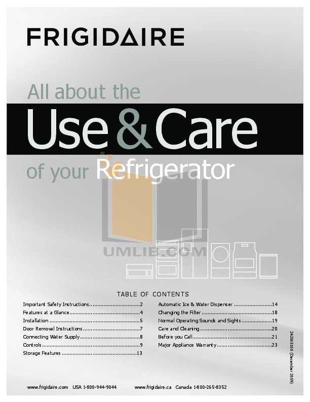pdf for Frigidaire Refrigerator FFUS2613LS manual