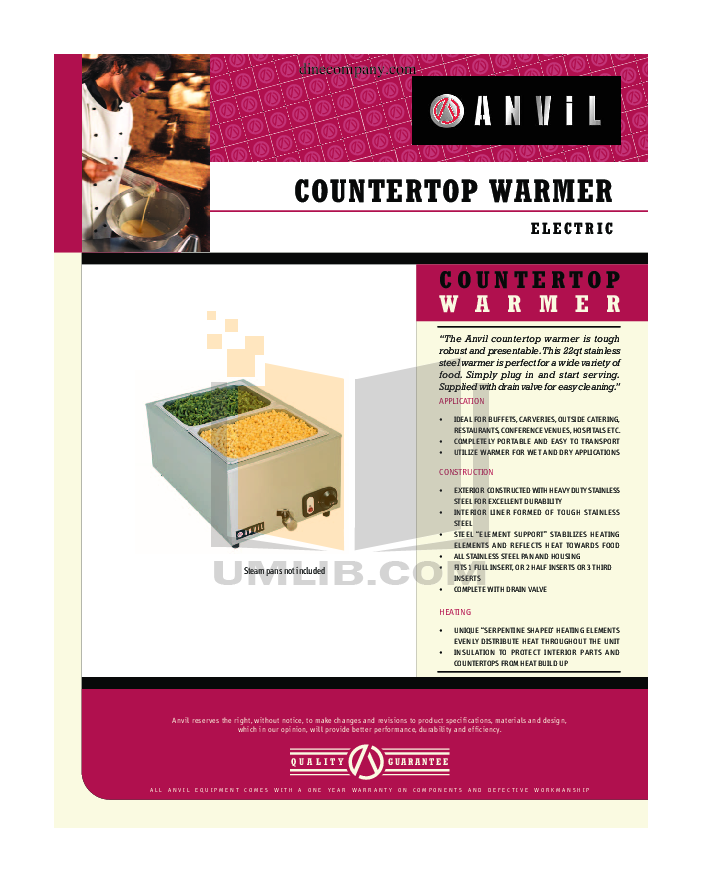 pdf for Anvil Other FWW7001 Food Warmers manual