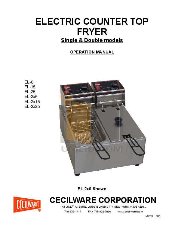 pdf for Cecilware Other EL-2X25 Fryers manual