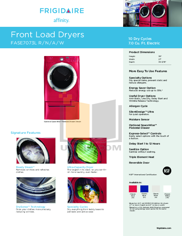 pdf for Frigidaire Dryer Affinity FASE7073L manual