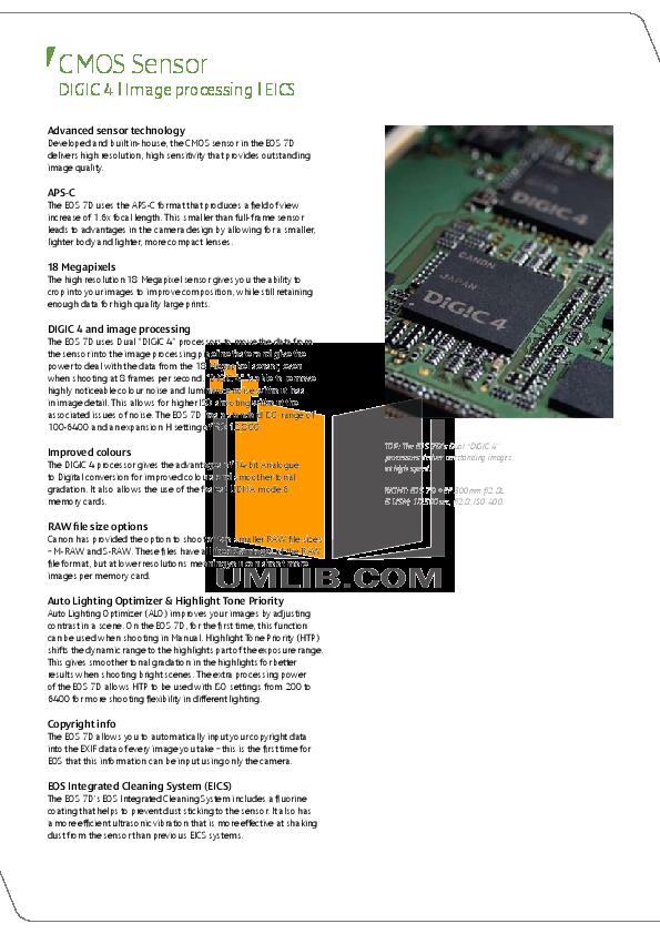 Canon Digital Camera EOS 7D pdf page preview