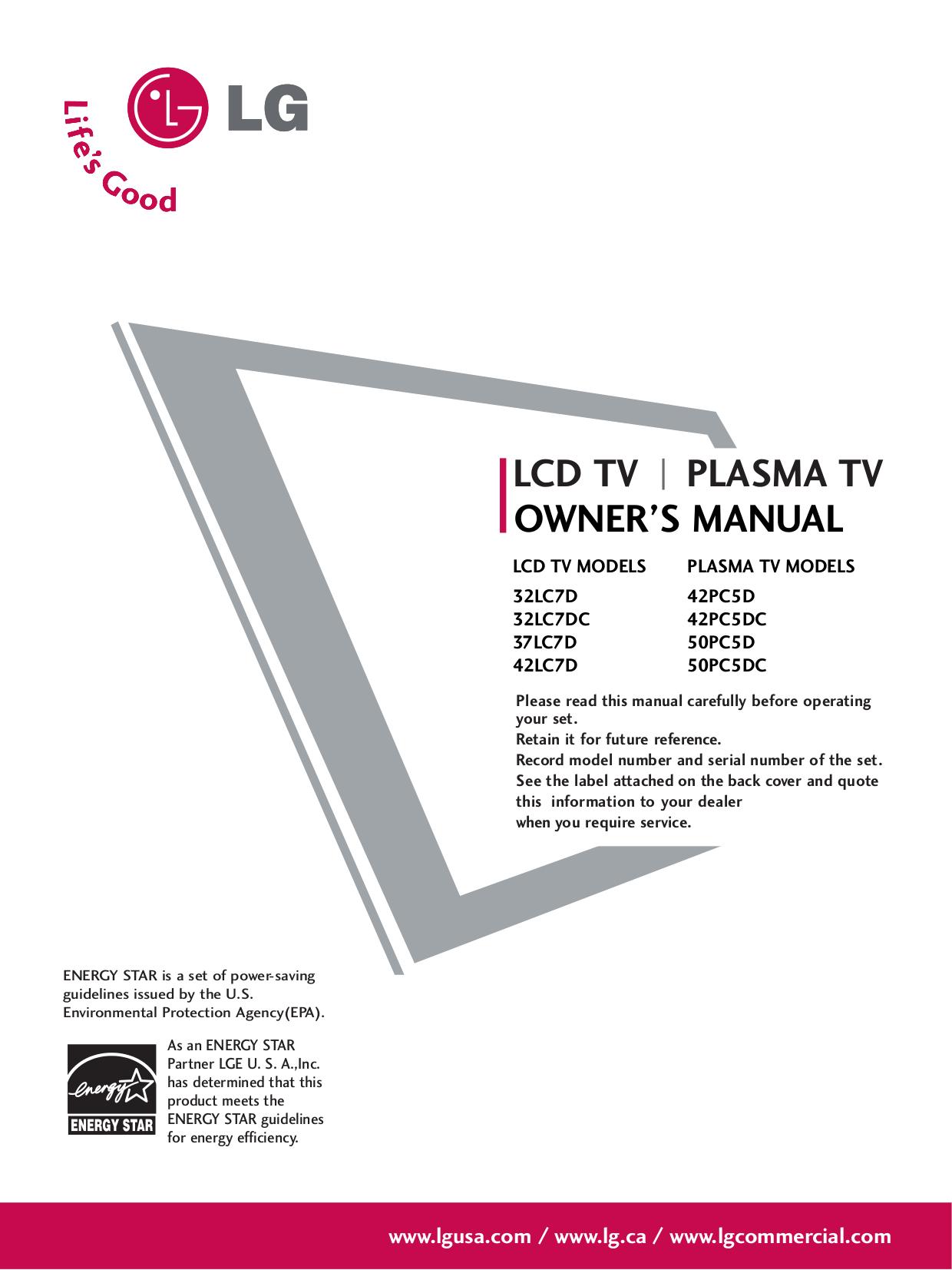 download free pdf for lg 37lc7d tv manual