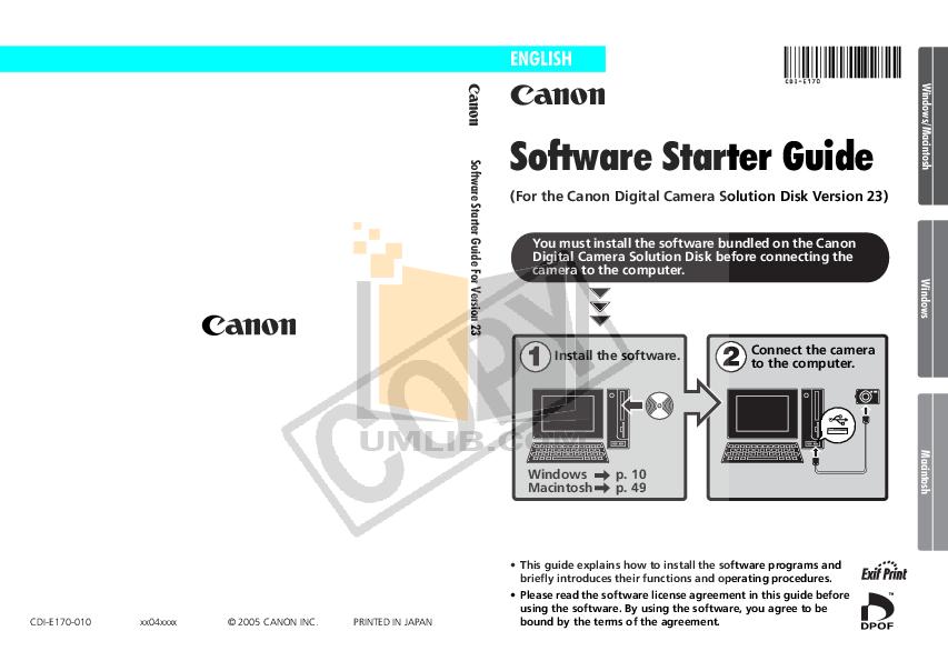 pdf for Canon Digital Camera Powershot SD500 manual