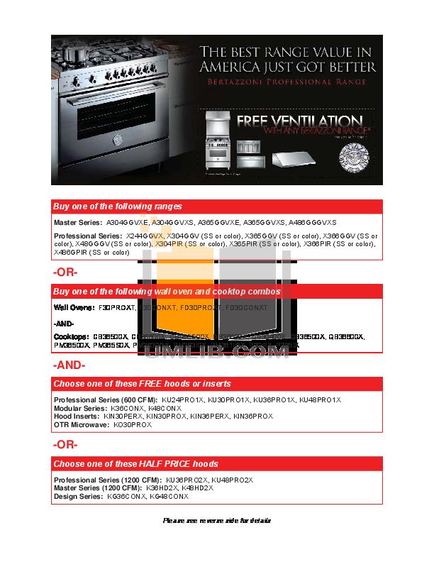 pdf for Bertazzoni Range QB36500X manual