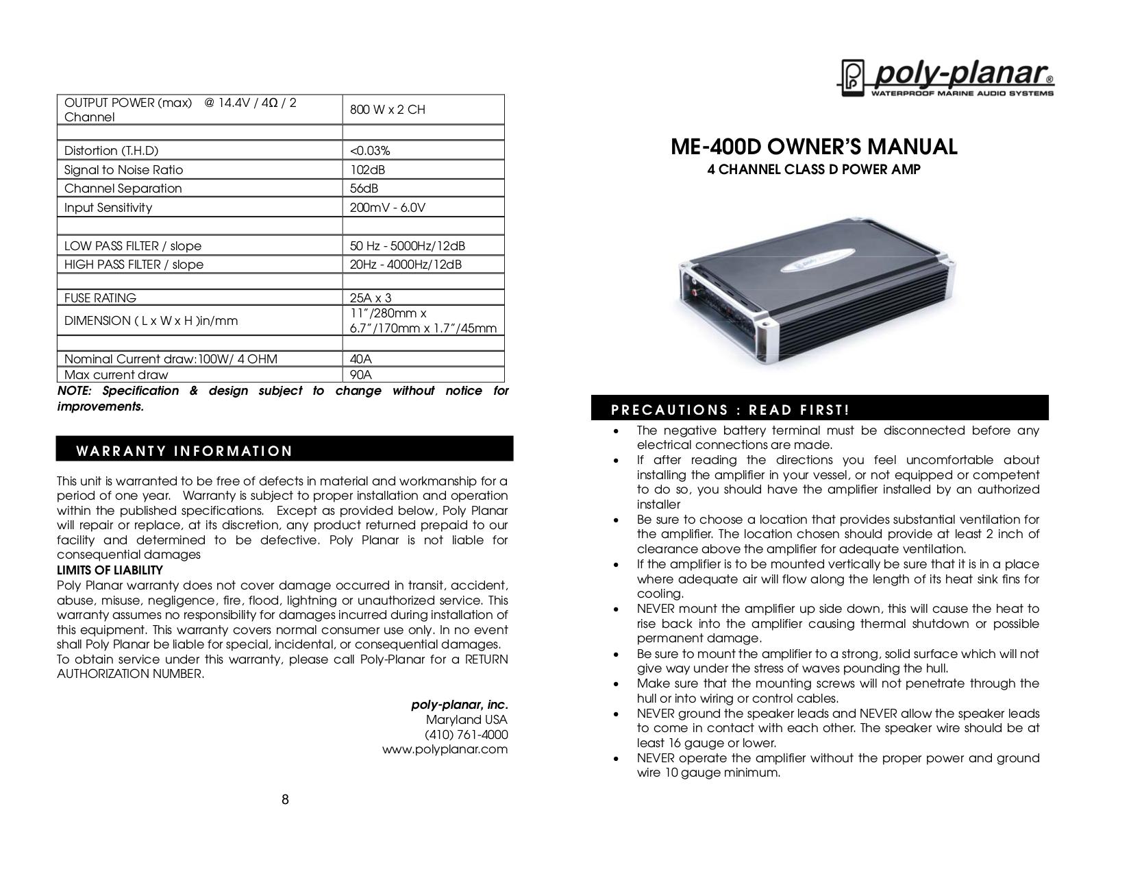 download free pdf for poly planar me 400 car amplifier manual rh umlib com