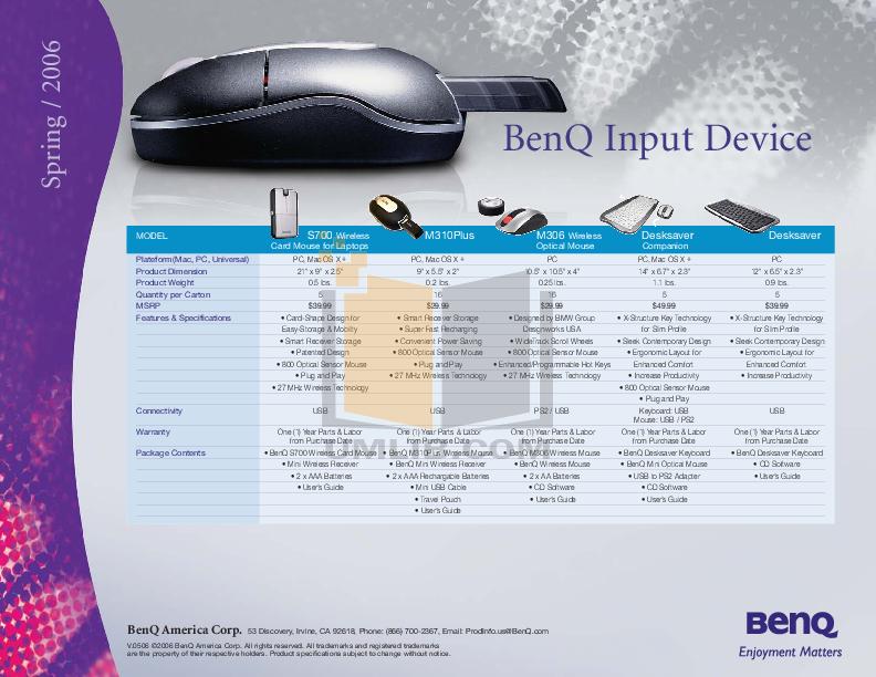 pdf for Benq Keyboard X120Pro manual