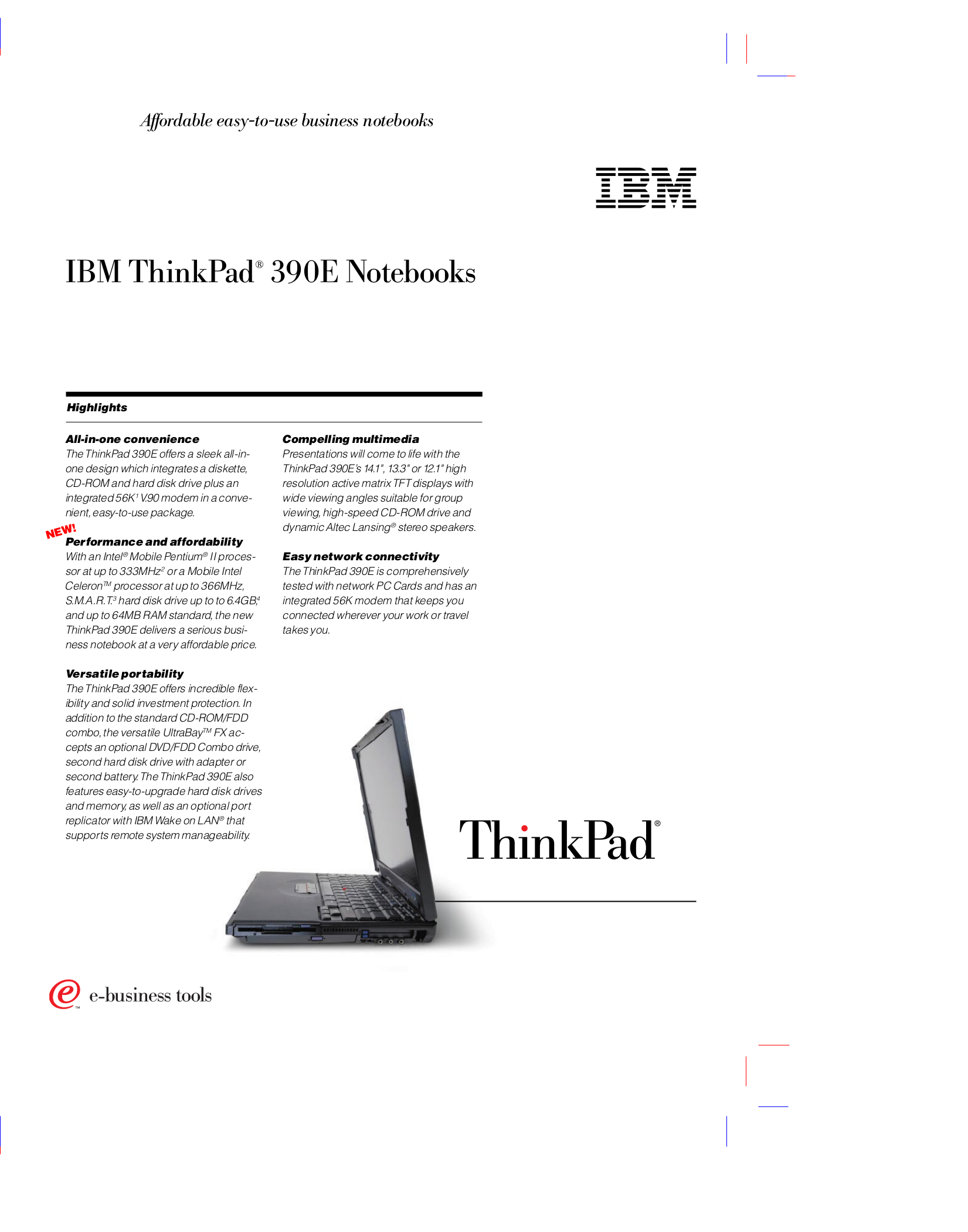 pdf for IBM Laptop ThinkPad 390 manual