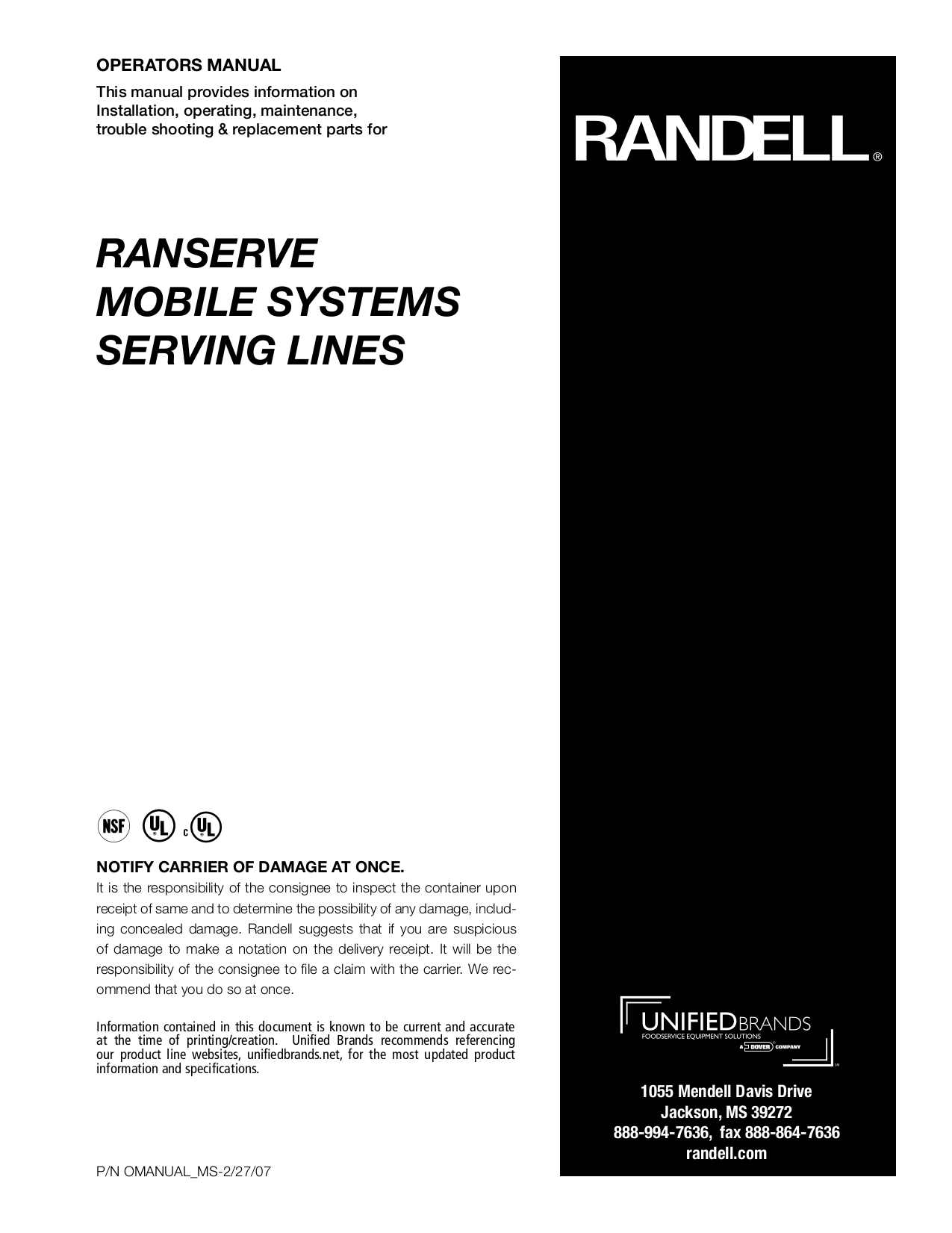 pdf for Randell Other 14G SCA-3 Food Holding Units manual