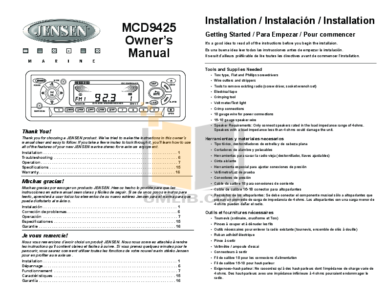 pdf for Audiovox Car Receiver MCD9425 manual