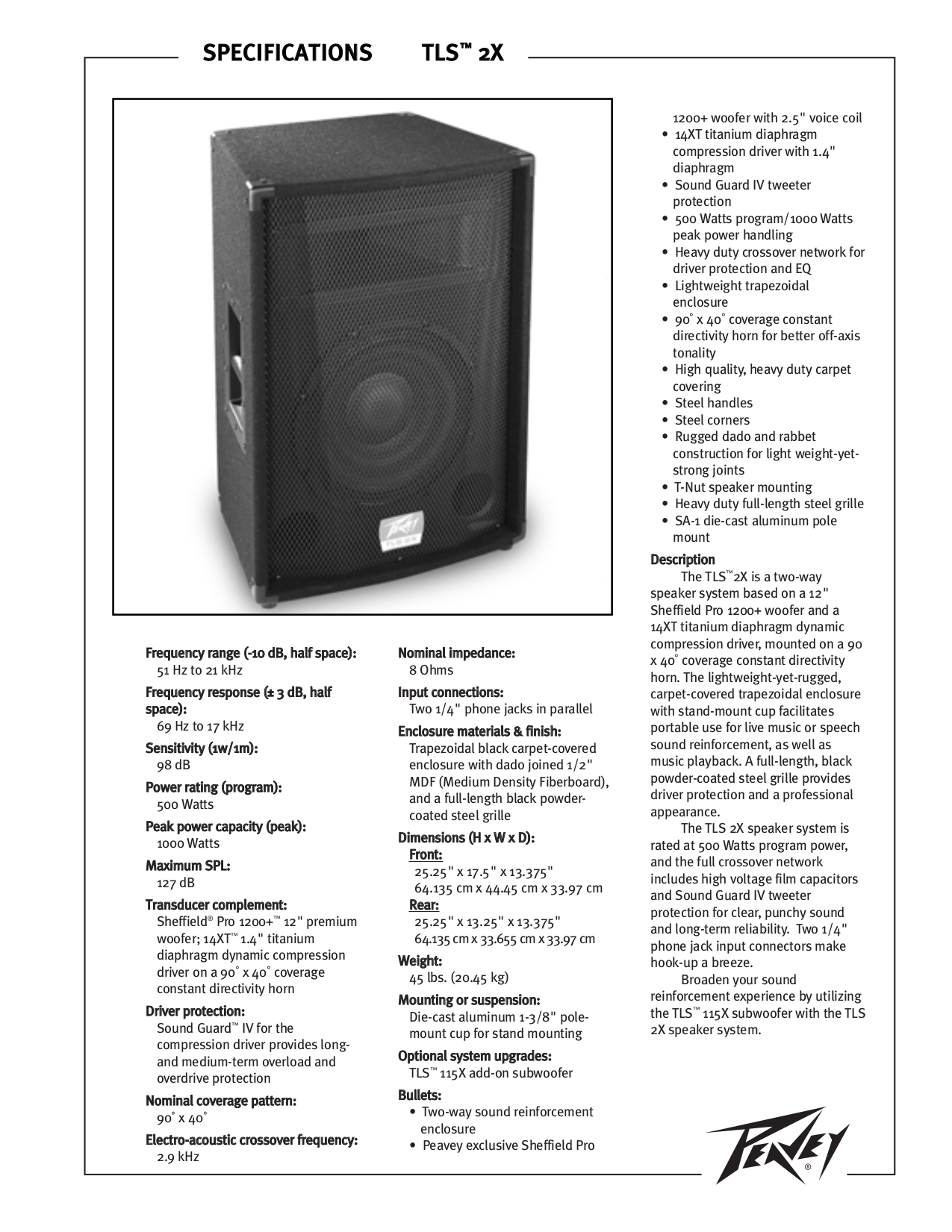 download free pdf for peavey sheffieldpro 1200 speaker manual rh umlib com peavey pv215 speakers manual peavey sp4g speaker manual