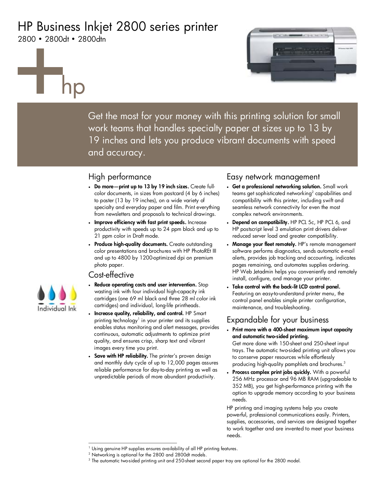 HP Printer Business Inkjet 2800 pdf page preview ...