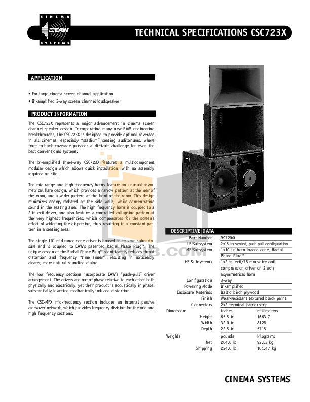 pdf for Eaw Speaker System Cinema CSC723 manual