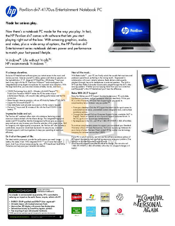 pdf for HP Laptop Pavilion DV7-4170 manual