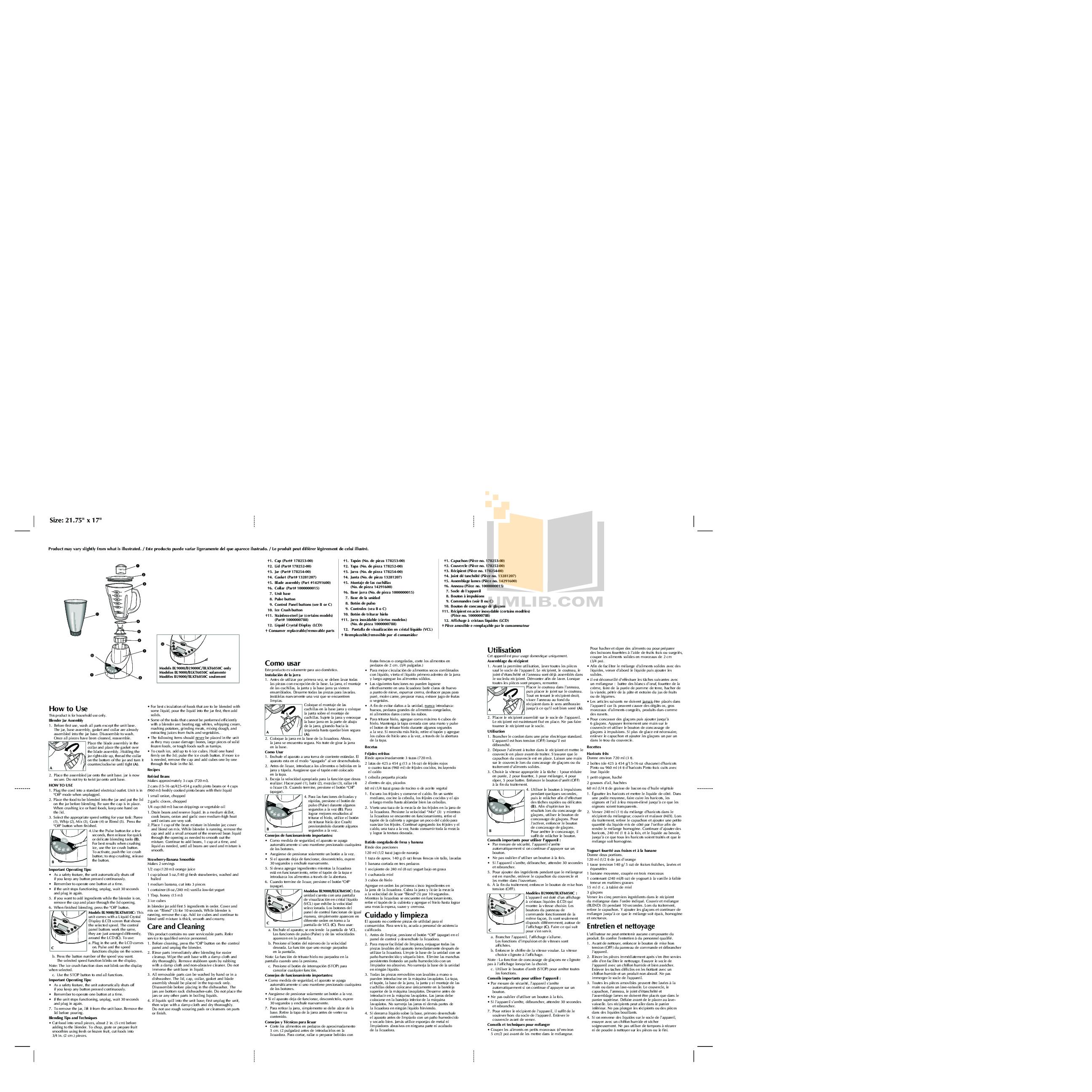 pdf for BlackAndDecker Blender BL7000 manual