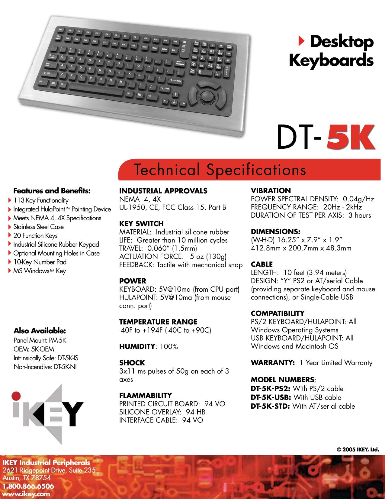pdf for iKey Keyboard DT-5K manual