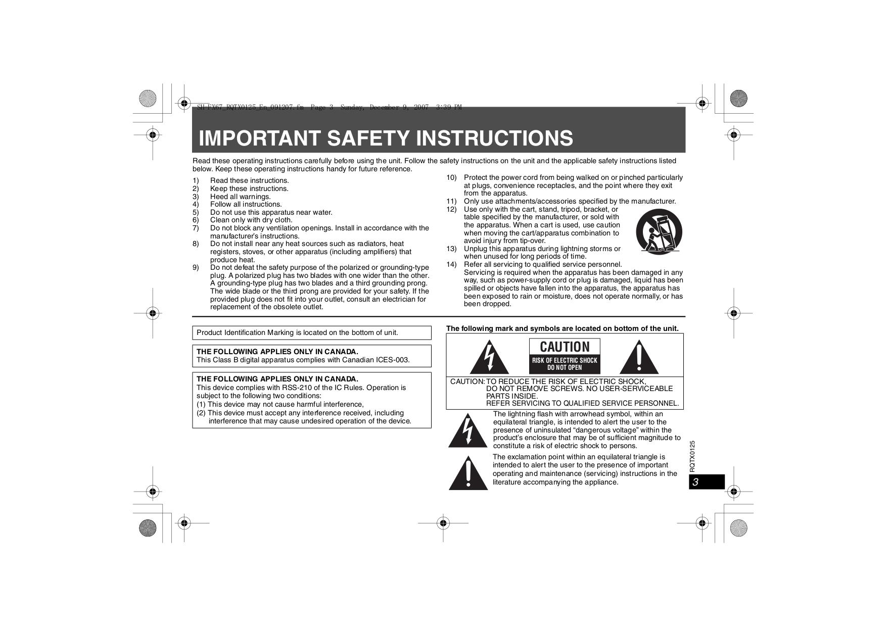 PDF manual for Panasonic Speaker SH-FX85