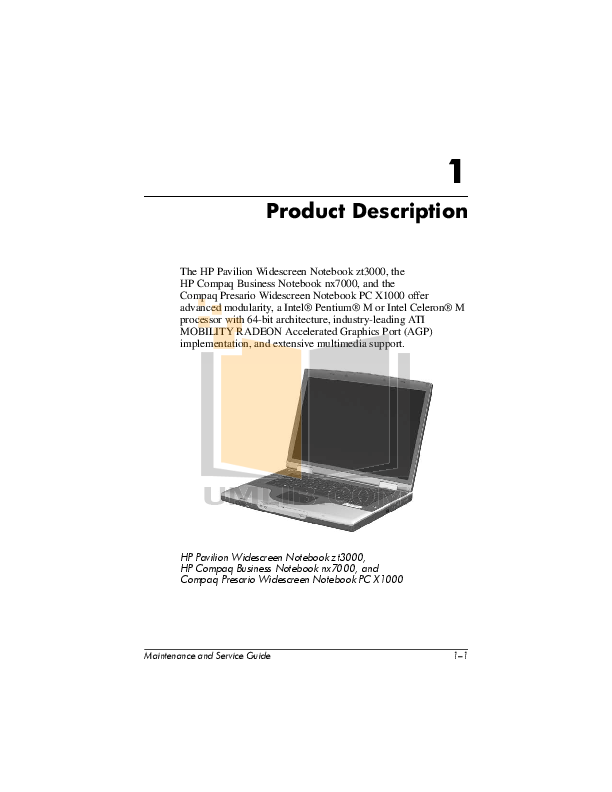 HP Laptop Compaq Presario,Presario X1074 pdf page preview