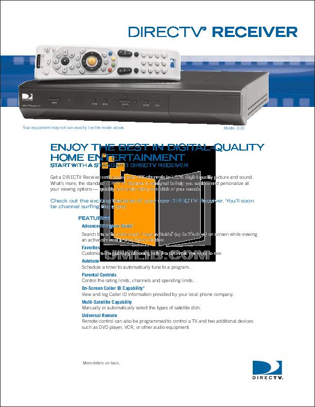 pdf for DirecTV DVR D10 manual