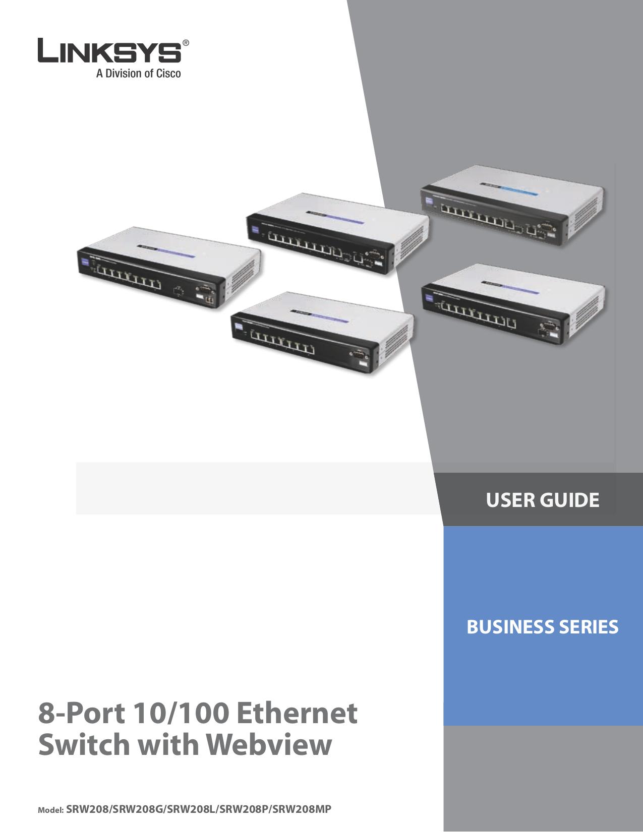 pdf for Linksys Switch SRW208 manual