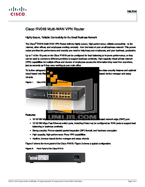pdf for Cisco Router RV016 manual