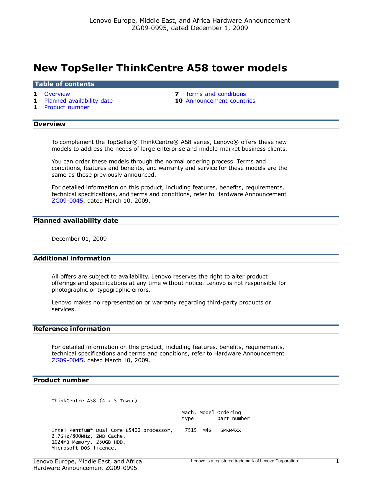 pdf for Lenovo Desktop ThinkCentre A58 7522 manual